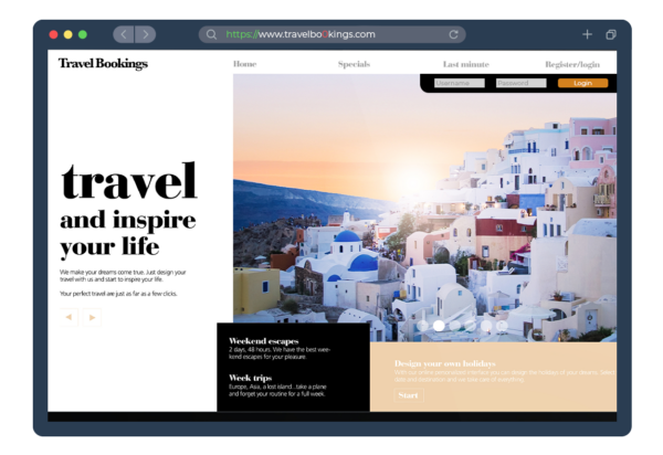 A look-alike domain targeting a travel website