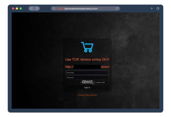 An ecommerce site on the dark web