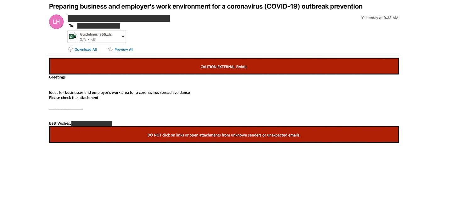 2020-04-08 - Payload Other - INC1805551 - Preparing business and employers work environment for a coronavirus COVID-19 outbreak prevention