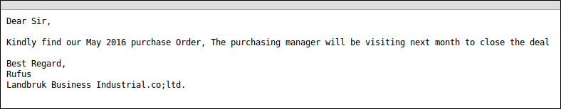 Purchase Order lure email example